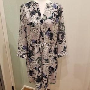 Loft Longsleeve Vneck Dress w/waist tie